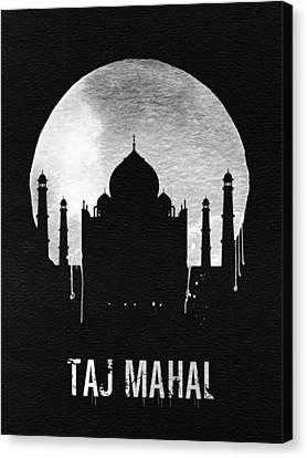 View Canvas Print - Taj Mahal Landmark Black by Naxart Studio