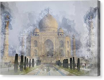 Taj Mahal Digital Watercolor On Photograph Canvas Print by Brandon Bourdages
