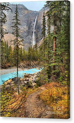 Canvas Print featuring the photograph Takakkaw Falls Fall Portrait by Adam Jewell
