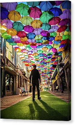 Take A Walk Under The Umbrella Sky Canvas Print