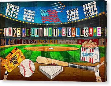 Take Me Out To The Ballgame Recycled Vintage License Plate Art Collage Canvas Print by Design Turnpike