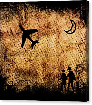 Take Off At Dusk Canvas Print by Robert Frank Gabriel