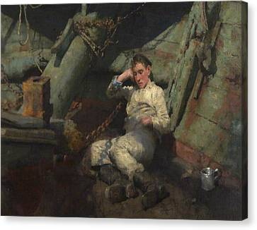 Canvas Print featuring the painting Taking A Spell  by Henry Scott Tuke