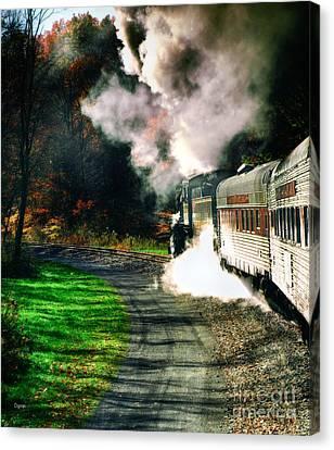 Taking Autumn By Train  Canvas Print by Steven Digman