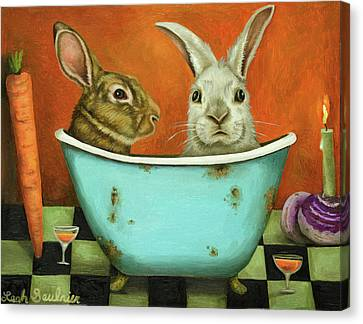 Tale Of Two Bunnies Canvas Print by Leah Saulnier The Painting Maniac