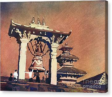 Canvas Print featuring the painting Taleju Bell- Patan, Nepal by Ryan Fox