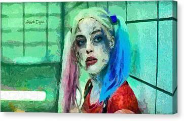 Talking To Harley Quinn  - Free Style -  - Da Canvas Print by Leonardo Digenio