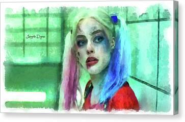 Talking To Harley Quinn - Aquarell Style Canvas Print