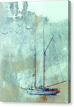Historic Schooner Canvas Print - Tall Ship Adventuress by Carol Leigh
