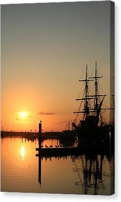 Tall Ship Lady Washington At Dawn Canvas Print by Mike Coverdale
