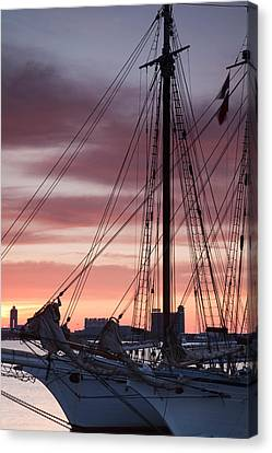 Tall Ship Moored At A Harbor, Sail Canvas Print by Panoramic Images