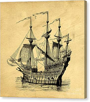 Canvas Print featuring the drawing Tall Ship Vintage by Edward Fielding