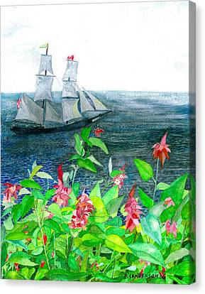 Tall Ships In Victoria Bc Canvas Print by Eric Samuelson