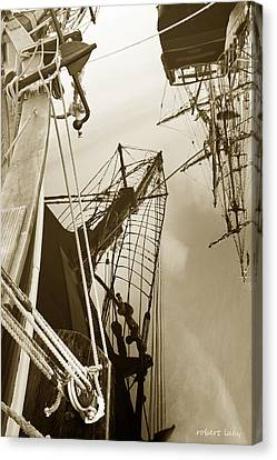 Tall Ships Reflected Canvas Print by Robert Lacy