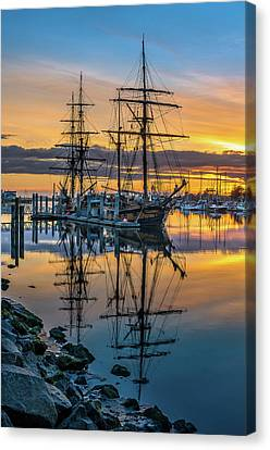 Tall Ships Sunset 2 Canvas Print by Greg Nyquist