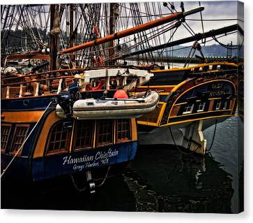 Tall Ships In Harbor Canvas Print by Thom Zehrfeld