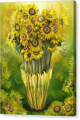 Canvas Print featuring the mixed media Tall Sunflowers In Sunflower Vase by Carol Cavalaris