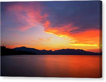 Canvas Print featuring the photograph Tallac On Fire by Brad Scott