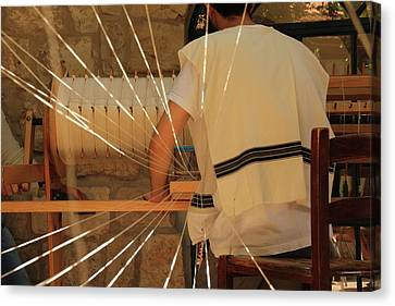 Canvas Print featuring the photograph Jewish Prayer Shawl Weaving In Tzfat by Yoel Koskas