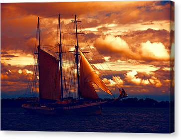 Tallship - Moody Blues And Powerful Oranges Canvas Print by Georgia Mizuleva