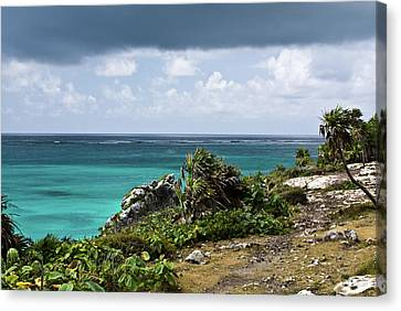 Talum Ruins Mexico Ocean View Canvas Print by Douglas Barnett