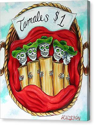 Tamales One Dollar Canvas Print by Heather Calderon