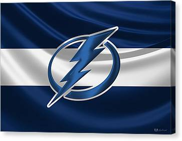 Hall Of Fame Canvas Print - Tampa Bay Lightning - 3 D Badge Over Silk Flag by Serge Averbukh