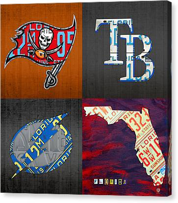 Tampa Bay Sports Fan Recycled Vintage Florida License Plate Art Bucs Rays Lightning Plus State Map Canvas Print by Design Turnpike