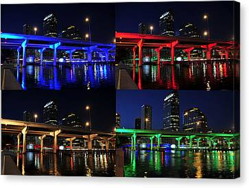 Canvas Print featuring the photograph Tampa's Colorful Bridges by David Lee Thompson