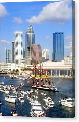 Tampa's Flag Ship Canvas Print by David Lee Thompson