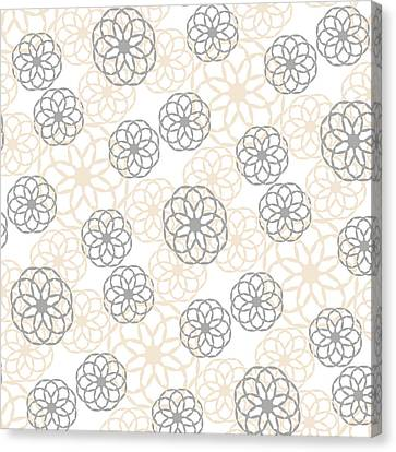 Flower Design Canvas Print - Tan And Silver Floral Pattern by Christina Rollo