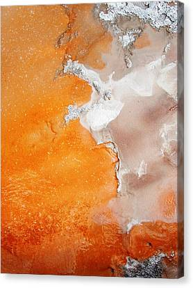 Tangerine Orange Geyser Pool Of Yellowstone Canvas Print by The Forests Edge Photography - Diane Sandoval