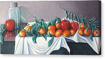 Tangerines And Apples Canvas Print by Eileen Kasprick