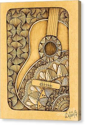 Tangle Guitar Canvas Print by Delein Padilla
