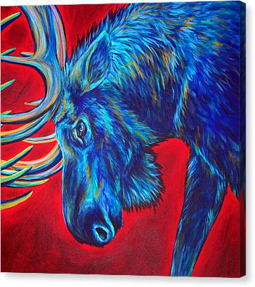 Moose Canvas Print - Tangled, 2 Piece Diptych, Right Piece by Teshia Art