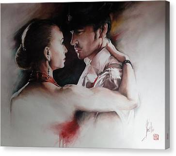 Canvas Print featuring the painting Tango Connection by Alan Kirkland-Roath