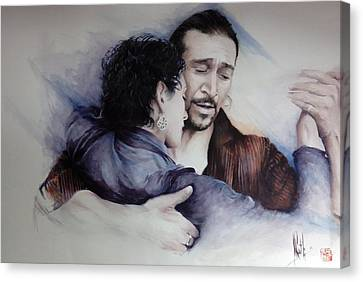 Canvas Print featuring the painting Tango Embrace by Alan Kirkland-Roath