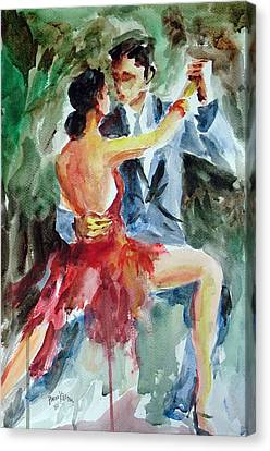 Canvas Print featuring the painting Tango In The Night by Faruk Koksal
