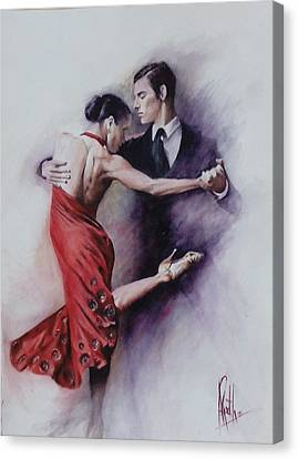 Canvas Print featuring the painting Tango Quartet 4/4 by Alan Kirkland-Roath