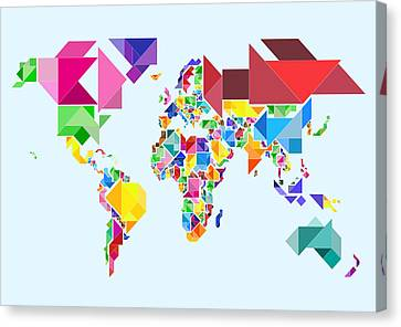 World Map Canvas Print - Tangram Abstract World Map by Michael Tompsett