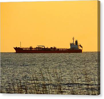 Tanker At Sunrise Canvas Print