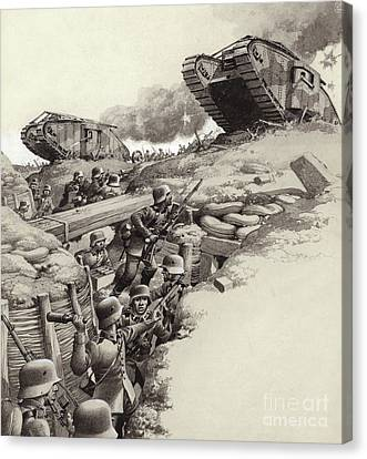 The Great War Canvas Print - Tanks Roll Over German Trenches During The Great War  by Pat Nicolle