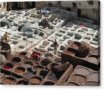Canvas Print featuring the photograph Tanneries At Fez by Erik Falkensteen