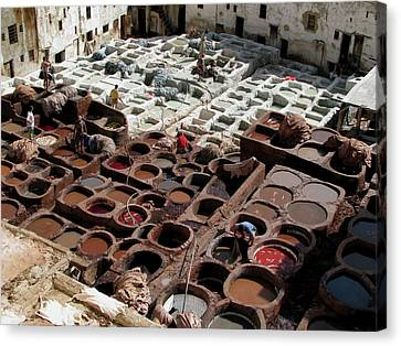 Canvas Print featuring the photograph Tanneries At Fez Morocco by Erik Falkensteen