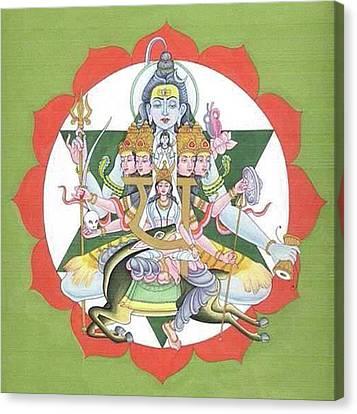 Tantrik Diagram Of Lord Shiva, Mantra Yantra ,indian Miniature Painting, Watercolor Artwork, India Canvas Print by B K Mitra