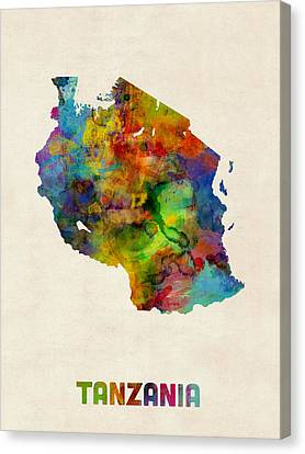 Tanzania Watercolor Map Canvas Print by Michael Tompsett