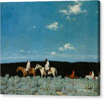 Taos Indians Homeward Bound Canvas Print by E  Martin Hennings