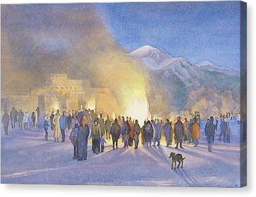 Christmas Dog Canvas Print - Taos Pueblo On Christmas Eve by Jane Grover
