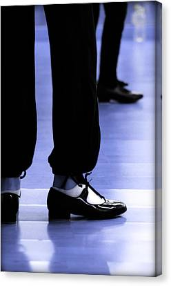 Tap Dance In Blue Are Shoes Tapping In A Dance Academy Canvas Print by Pedro Cardona