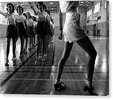 Tap Dancing Class In The Gymnasium Canvas Print by Everett